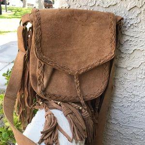 Suede hippie bohemian crossbody bag